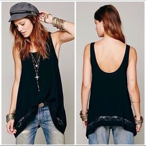 Free People Intimately Free Black Lace Trim Tank